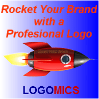 Ad with pic of rocket plus a line of text 'Rocket Your Brand with a Profesional Logo'. Single 's' in 'professional'.