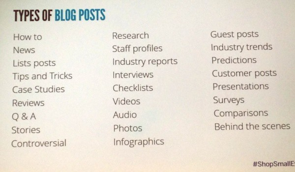 Slide showing 20 or more different types of blog post