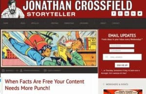 Screenshot of website page showing use of cartoon images to develop brand