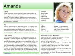 sample persona template including name, photo, basic demographic information, bio, personality characteristics etc