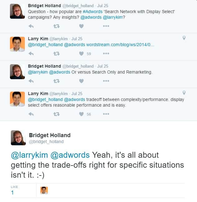 image of a tweet conversation reaching out to someone with a question
