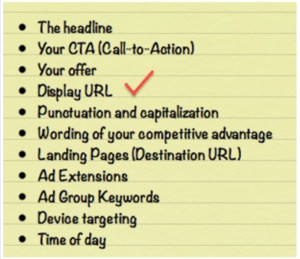 list of 11 different options for testing your Adwords ads