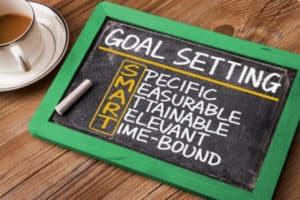 board with smart goal setting writing