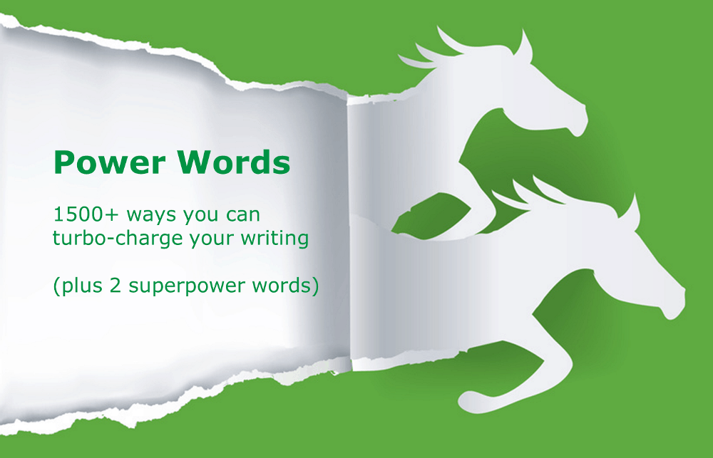 two galloping horse shapes ripped out of paper with the words 'Power Words' across them