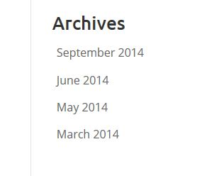 Screenshot of archive listing from Yvonne Adele's small business blog - showing there were posts in March, May, June and September 2014, but nothing in April, July or August