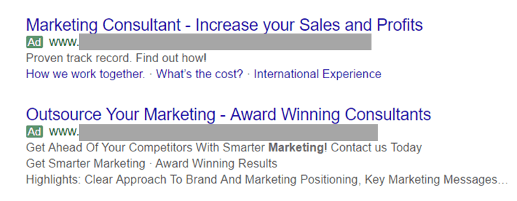 Two Adwords ads for marketing consultants.