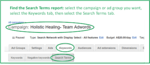 screenshot showing how to find Adwords search term report