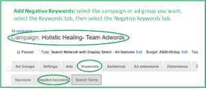 screenshot showing how to navigate to Adwords negative keywords tab