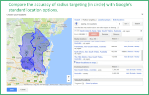screenshot showing Google Adwords location targeting using standard locations