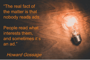 Howard Gossage quote with lightbulb