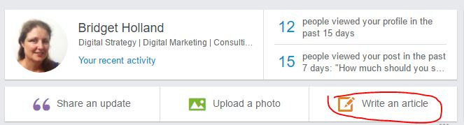 screenshot of LinkedIn homepage showing where to click in order to publish a post