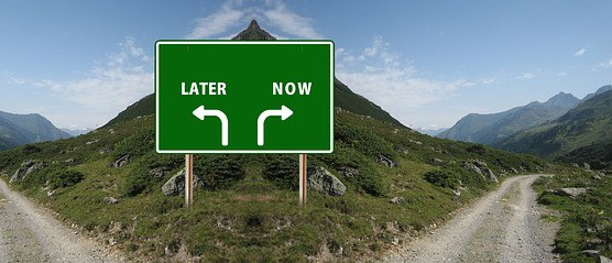 picture of road sign pointing to 'later' and 'now'