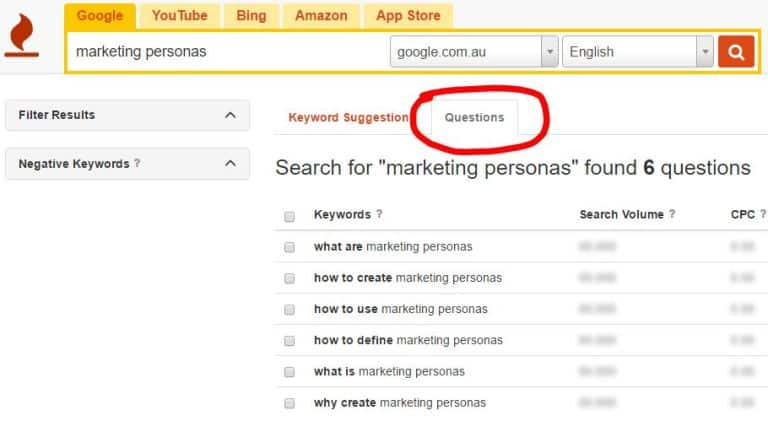 screenshot from Keyword Tool showing question tab for 'marketing personas' search results