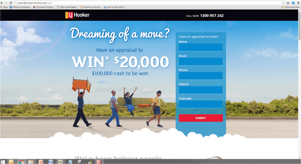 image of competition landing page with entry form