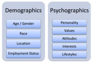 Table showing demographic data (age, gender, location, employmnet etc) versus psychographic data (values, attitudes, interests etc)