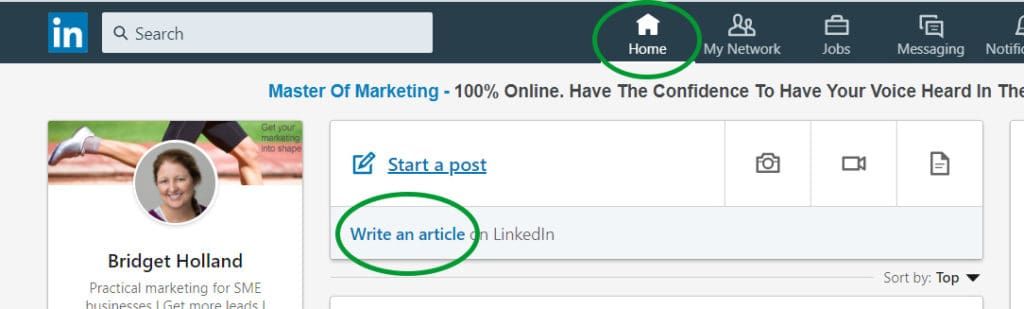 screenshot of LinkedIn home page showing how to write an article on your LinkedIn profile