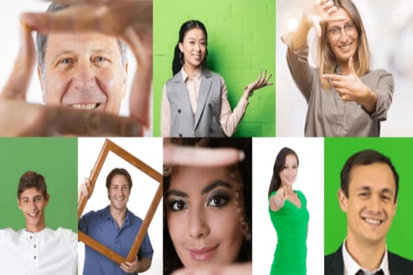 compilation of different people or personas facing the viewer