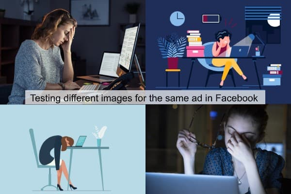 four image variations tested in a facebook advertising for small business campaign