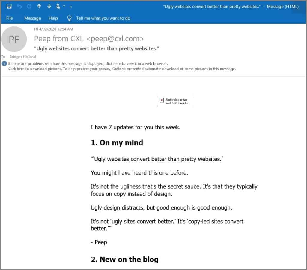 improving email newsletter - cxl newsletter sample