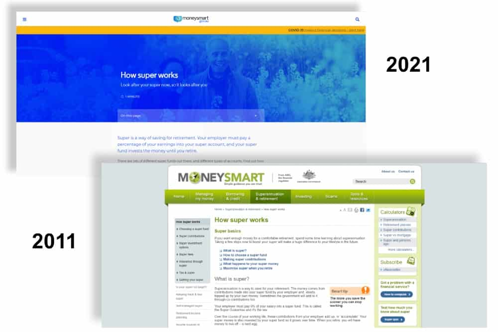 Money Smart webpage 2011 vs 2021