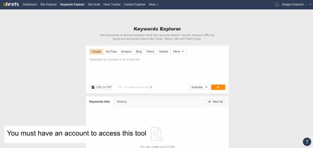 keyword research for blogging using tool like ahrefs keyword explorer