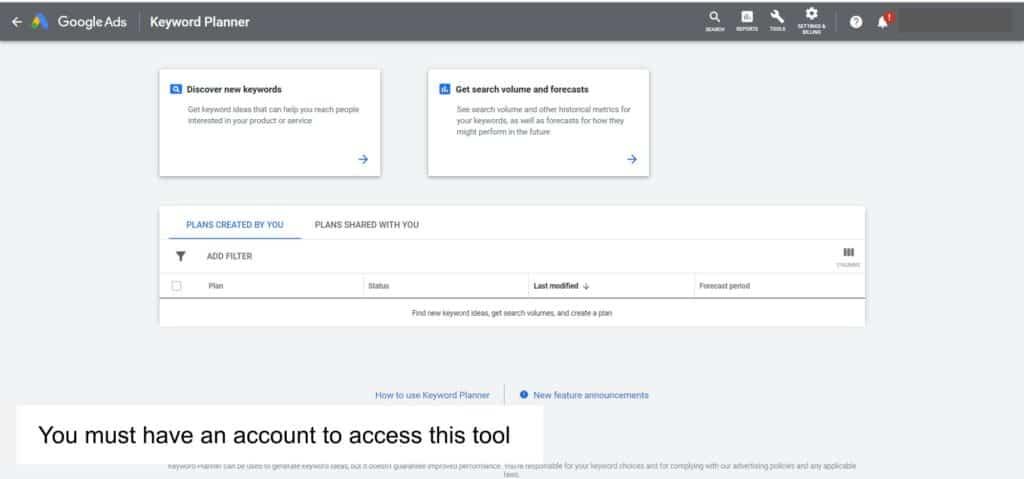 keyword research for blogging tool like Google ads keyword planner