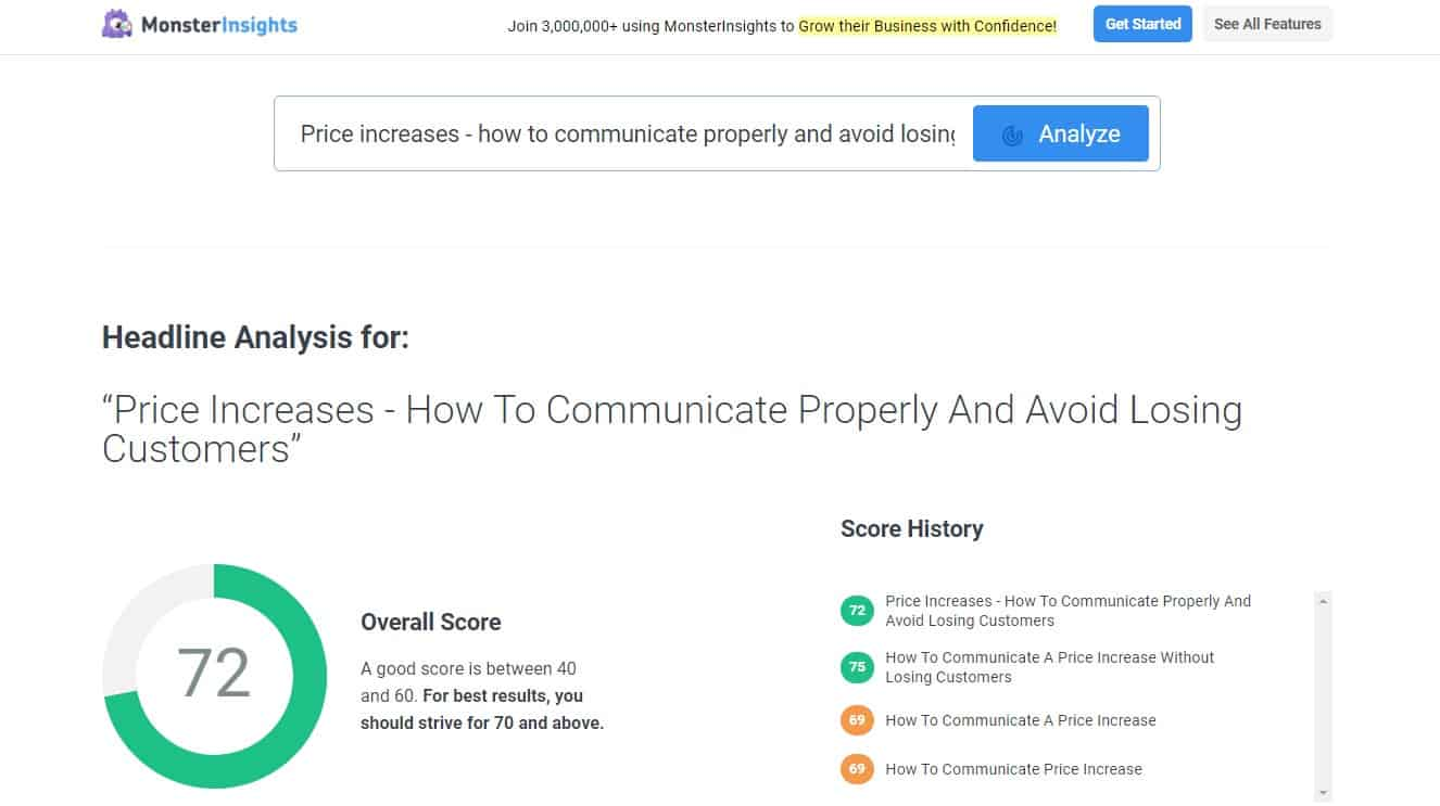 Monster-Insights-headline-analyser-with-score-history
