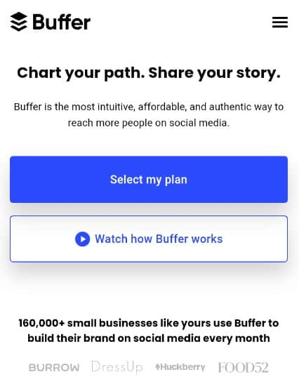 buffer-home-page-screenshot-mobile-view